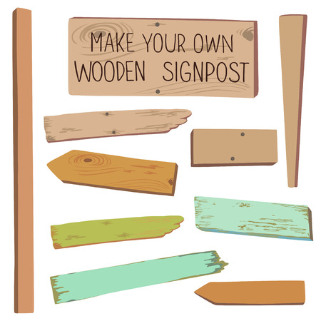 Collection of various empty wooden sign with pins on white background. Make your own wooden sing post.