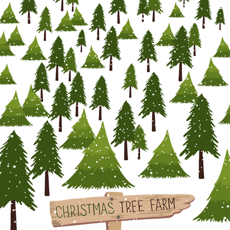 Christmas tree farm. Vector illustration. Christmas Trees for sale