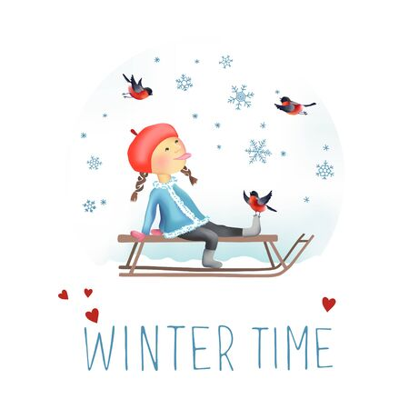 Cheerful winter vector illustration of Little girl on the sled. Snowflakes and bullfinches around. Let It Snow