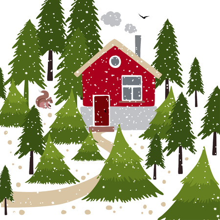 Vector illustration about winter time. Winter snow covered forest and rural house with a chimney. Wooden pointer with a squirrel on the path. Ilustração