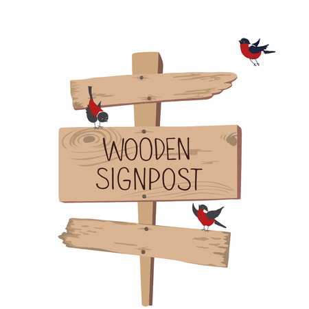 pointer: Wooden sign with bullfinches isolated on white background. Vector illustration.