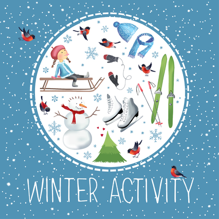 Vector illustration about winter outdoor activities and sport made in circle shape.