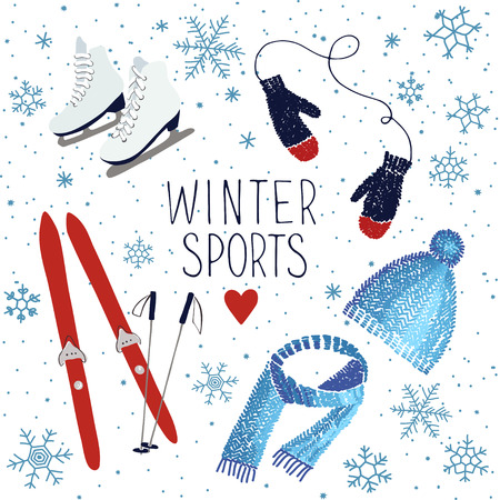 Vector illustration about winter sports and activities Иллюстрация