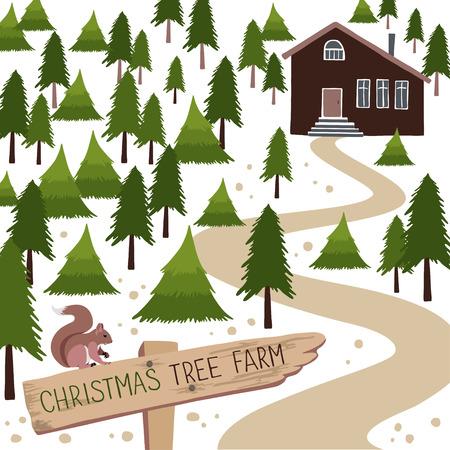 Christmas tree farm. Vector illustration. Christmas Trees for sale