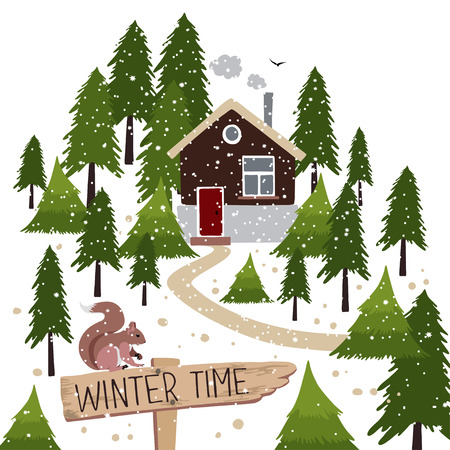Vector illustration about winter time. Winter snow covered forest and rural house with a chimney. Wooden pointer with a squirrel on the path. Иллюстрация