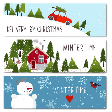 Set of 3 lovely cards templates. Christmas theme. Winter time. There is a place for your text. Vector illustration. Фото со стока