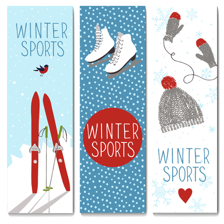 Set of 3 lovely cards templates. Winter outdoor activities. and sport. There is a place for your text. Vector illustration.