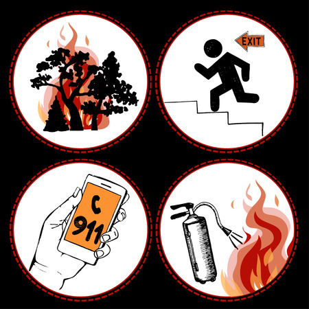 conflagration: Fire safety and means of salvation. Set of vector hand drawn icons.