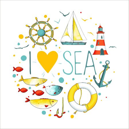 Collection of nautical elements in a circle shape. There are lighthouse, seagull,sailboat, life buoy, fish, anchor and wheel. Objects isolated on white background. Vector illustration.