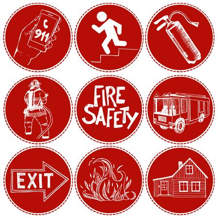 Fire safety and means of salvation. Set of vector hand drawn icons in circles with red background. Иллюстрация