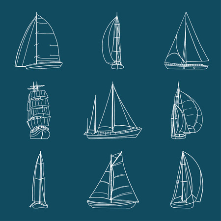 Set of 9 boats with sails made in the vector isolated on dark background. Sport yacht, sailboat. Contour drawing