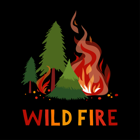Wild fire in a forest. Illustration.