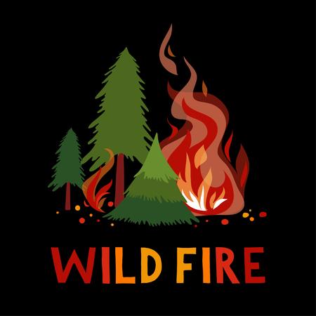 Wild vuur in een bos. Illustratie.