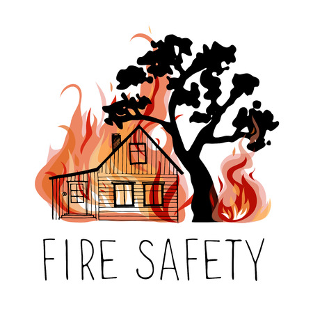 log cabin: No wildfire vector icon. Silhouettes of trees and wooden house on a background of fire.