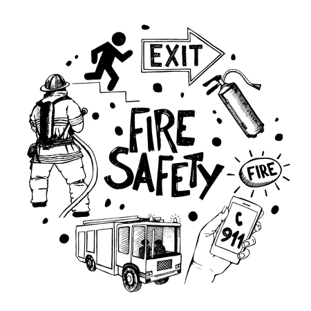 Fire safety and means of salvation. Set of vector hand drawn icons in a circle.. Ilustração