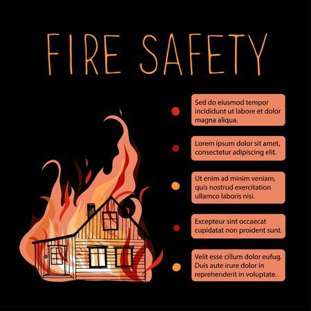 Template of fire safety vector placard. Silhouette wooden house on a background of fire.