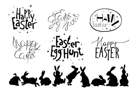 Easter hand drawn design elements