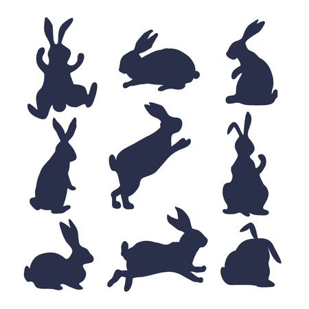 9 silhouettes of bunnies.