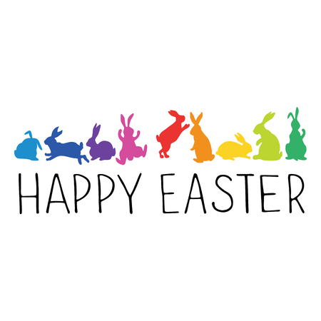 Happy Easter Header with bunnies silhouettes