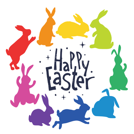 Bunnies silhouettes in rainbow colors arranged in a circle. Happy Easter.