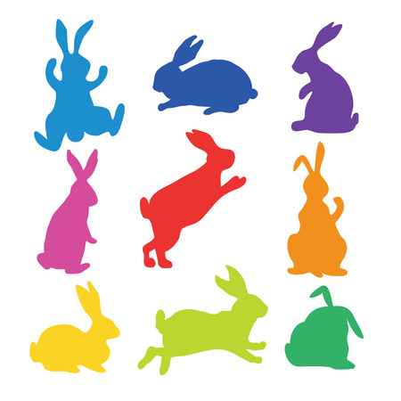 9 silhouettes of bunnies Иллюстрация