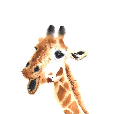 watercolor giraffe. Close-up.