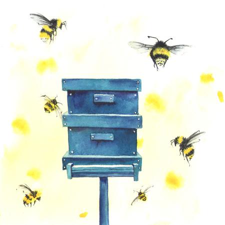 Aquarell Bienenstock und Bienen Standard-Bild - 76216453