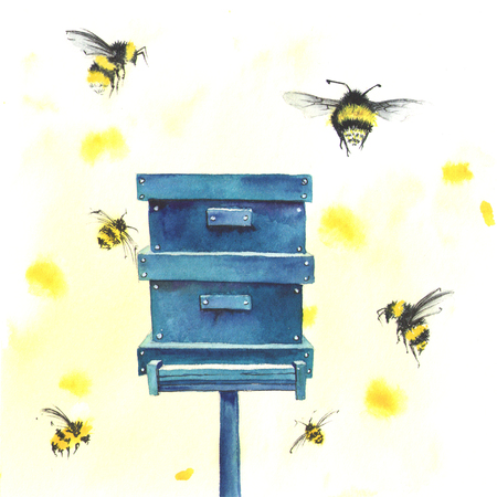 Watercolor beehive and bees