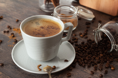 cup of black coffee, cinnamon and coffee beans 스톡 콘텐츠 - 118634664