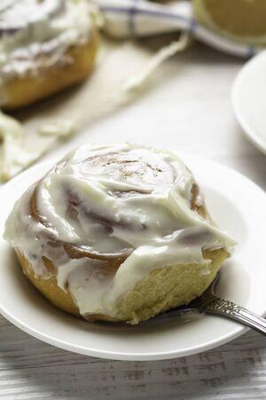 bun with cream close-up