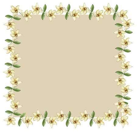 Beautiful frames for invitations and cards. childrens party, vanilla flowers Фото со стока