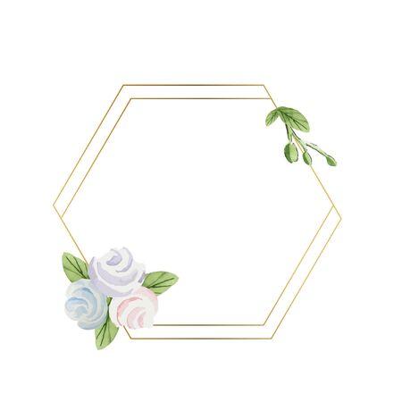 Watercolor cute pastel frames with marshmallows, vanilla, golden frames.