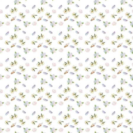 Seamless pattern, watercolor, vanilla flowers, marshmallows, ice cream floral ornament, fruits for texitil, scrap paper, website background