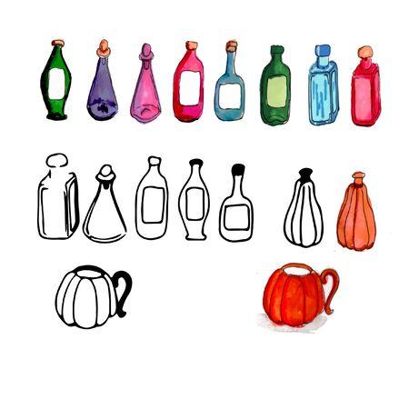 Halloween icon set multi-colored bottles, mug pumpkin, watercolor, markers