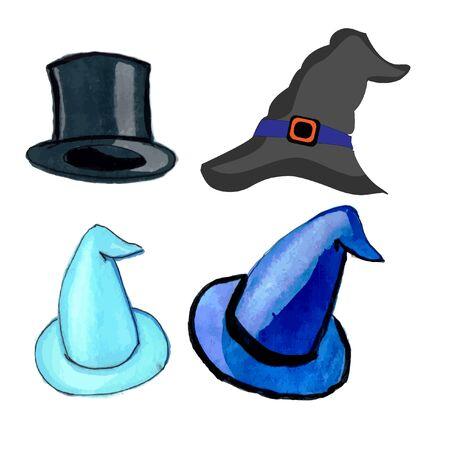 Halloween icon set magic hats or wizard hats Reklamní fotografie