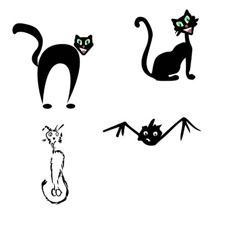 Halloween icon set three cats and one bat Reklamní fotografie
