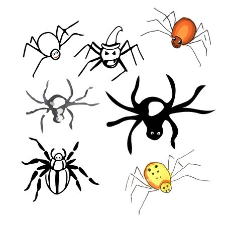 Halloween icon set spiders. scary and nasty Reklamní fotografie