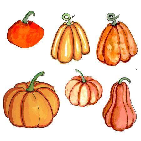 Halloween icon set. pumpkins of different sizes