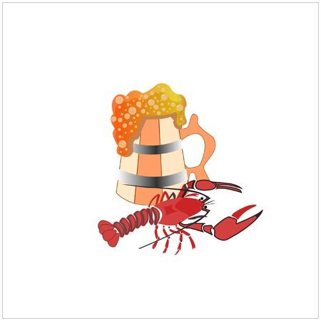 Oktoberfest vector illustration showing off a set of beer and snacks. Crayfish, crab, wheat, shrimp, beer in a mug and a bottle