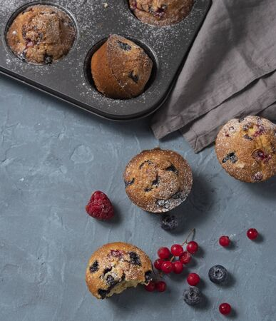 fresh muffins blueberry redberry homemade cake baked top view