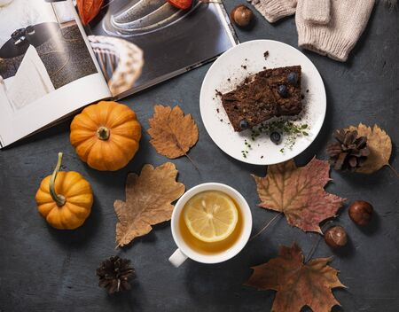 sweet chocolate brownie cup of tea hand with lemon pumpkins, yellow foliage and book hygge  mood flat lay autumn top view