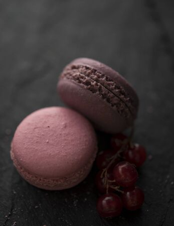 some sweet pink and violette macaroons with red currant on black shale darphoto morning light close up