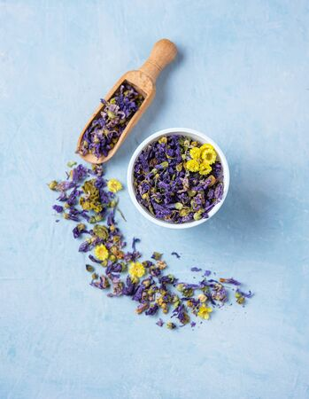 aromatic herbal dry tea lavender and chamomile loose near white cup on blue wood table top view