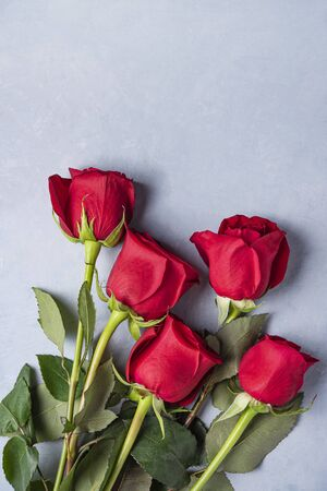 A beautiful and delicate bouquet of red roses lies on a blue background . Valentines day. Top view and copy space Imagens