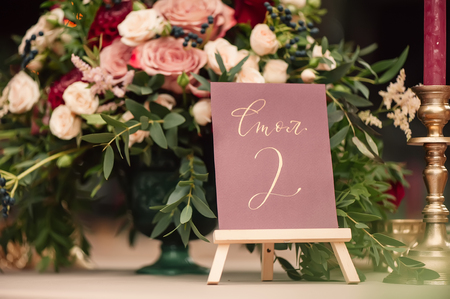 table number and flower composition