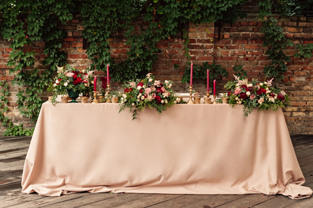 Festive wedding table candle flowers