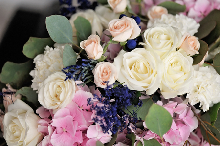 Wedding decor. Beautiful flowers in bouquet, closeup Stock Photo