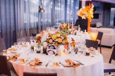 formal dinner party: The elegant dinner table.