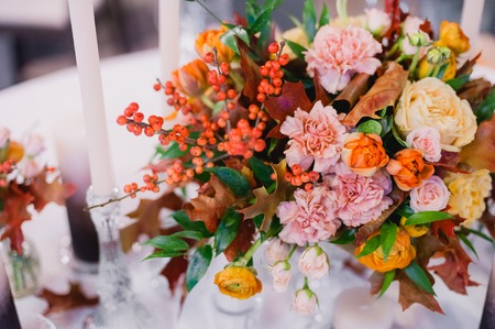 Elegant beautiful table decorated. Close up. Wedding concept Stock Photo
