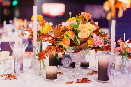 Elegant beautiful table decorated . Close up. Wedding concept